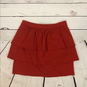 Cherry Red H&M Tiered Tulip Ruffle Mini Skirt 8
